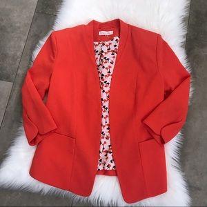 {sugar lips} orangeish red spring blazer jacket!